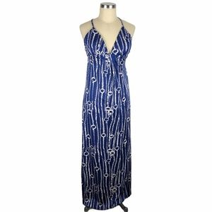 JB BY JULIE BROWN Blue White Knotted Maxi Dress XS